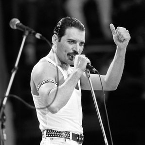 Queen's Freddie Mercury performing at Live Aid in