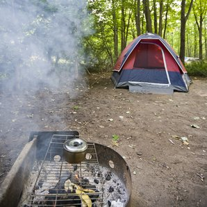 Tent and BBQ stock image