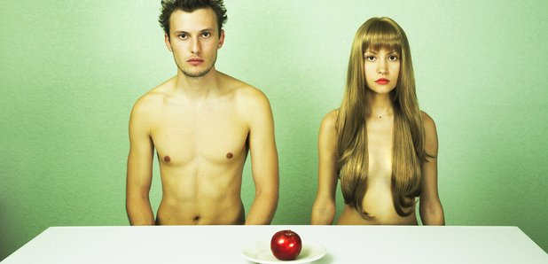 Naked diners stock image