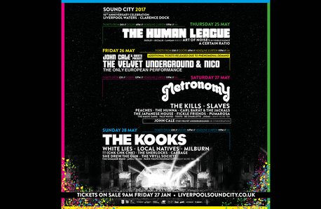 Liverpool Sound City line-up with black background