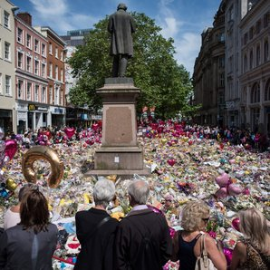 St Ann's Square in Manchester with Tributes